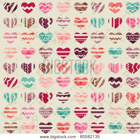 Seamless vintage background made of small hearts
