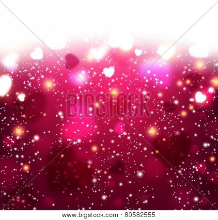 Magenta valentine's background with defocused hearts. Vector illustration.