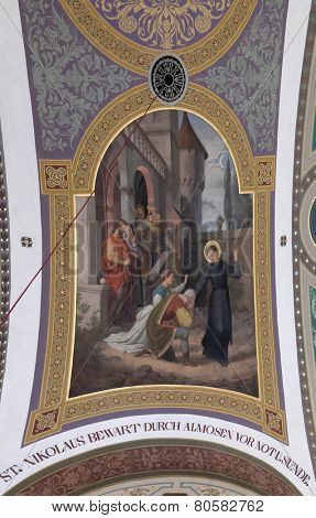 BAD ISCHL, AUSTRIA - DECEMBER 14: Saint Nicholas, fresco painting in parish church of St. Nicholas in Bad Ischl, Austria on December 14, 2014.