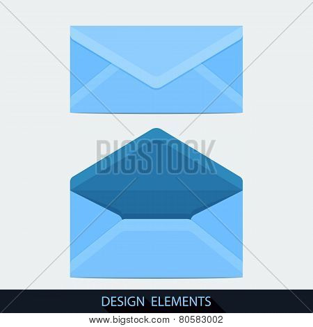 Design Of Both Open And Closed Envelope In Flat Style.