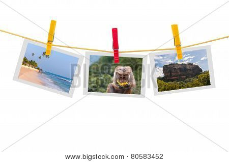 Three Photos Of Sri Lanka On Clothesline