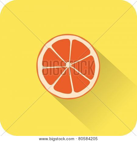 Orange icon. Flat design style modern vector illustration. Isolated on stylish color background. Flat long shadow icon. Elements in flat design.
