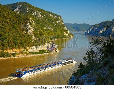 Danube river.  Serbia and Romania border.