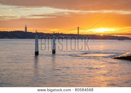 Portugal, Europe - The Columns Wharf Viewpoint at commerce square downtown at sunset in city of Lisbon.