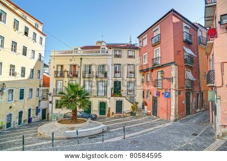 Traditional neighborhood (Alfama) in the city of Lisbon, Portugal, Europe