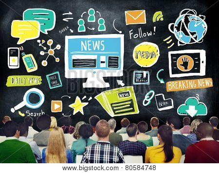 News Breaking News Daily News Follow Media Searching Concept