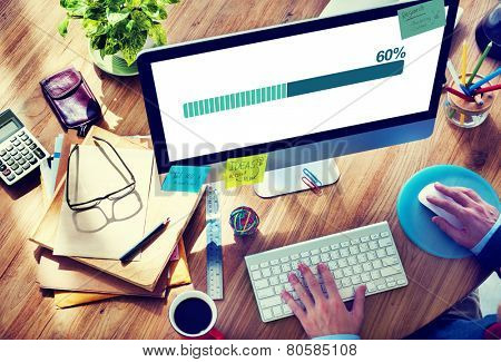 Man Working Computer Connecting Data File Sharing Concept