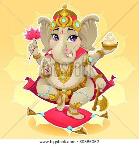 Ganesh. Funny representation of eastern god, vector cartoon illustration.