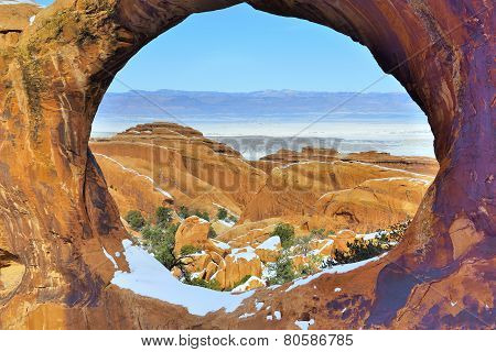 View From The Double-o-arch In Devil's Garden In Arches National Park, Utah In Winter