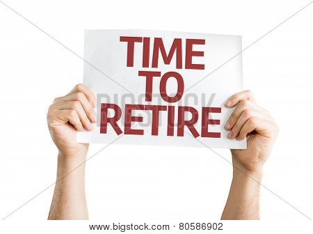 Time to Retire card isolated on white background