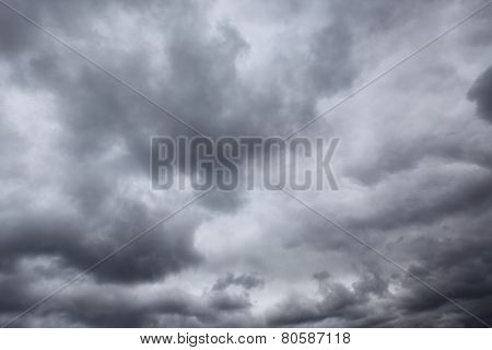 Dark storm sky with clouds, may be used as background