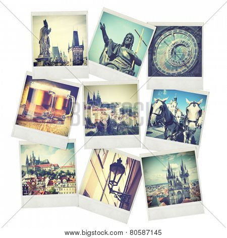 Set of old instant photos of Prague