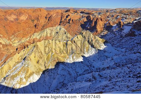 Upheaval Dome In Canyonlands National Park, Utah In Winter