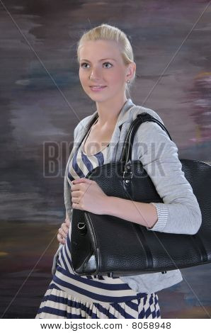 Young Woman 20-25 Years With Road Bag