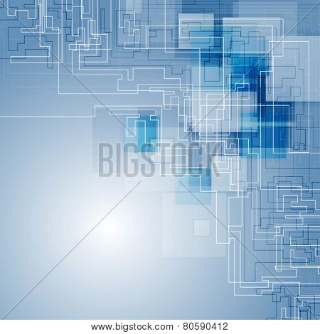 Abstract blue hi-tech background. Vector design