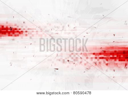 Grunge red hi-tech background with squares. Vector design