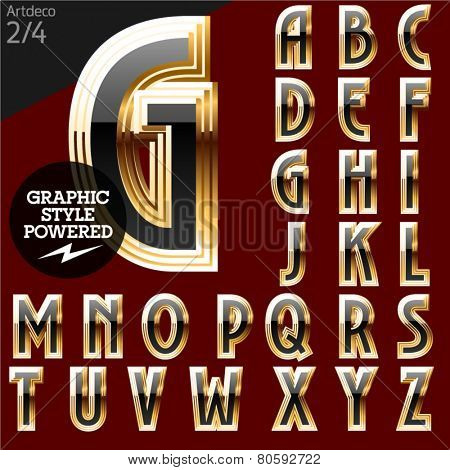 Vector font of beveled golden letters. Art-deco. File contains graphic styles available in Illustrator. Set 2