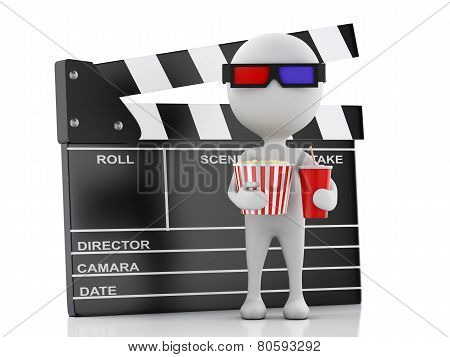 3D White Man With Clapper Board, Popcorn And Drink.