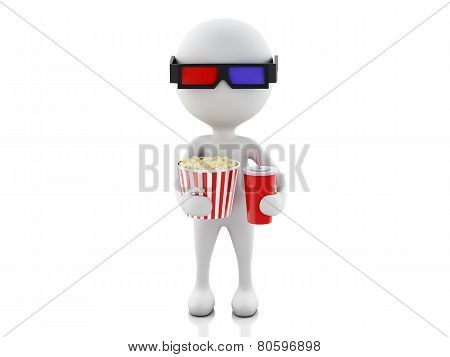 3d white man with 3d glasses, drink and popcorn, isolated white