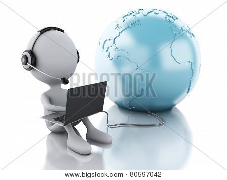 3D White Person Working On A Laptop With Headphones And Earth Globe, Isolated White Background