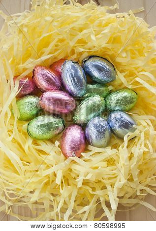 Easter Chocolate Eggs Nest.
