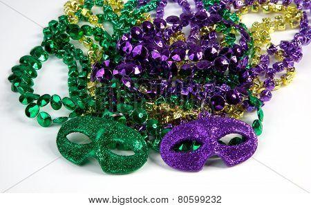 Mardi Gras Beads With Masks