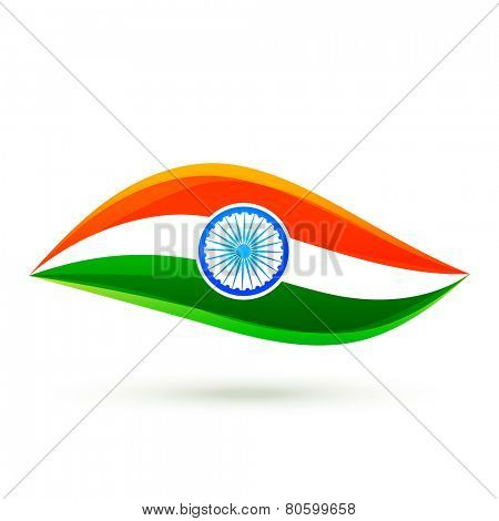 stylish indian flag design in simple style isolated on white background