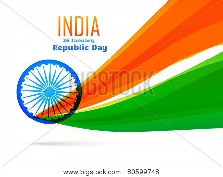vector indian flag design made in wave style in tricolor