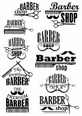 stock photo of barber  - Barber shop black emblems and logo with lush and thin curled mustache - JPG