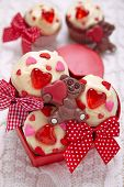 pic of red velvet cake  - Red velvet cupcakes decorated with hearts for Valentines day - JPG