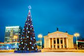 stock photo of lenin  - Main Christmas Tree And Festive Illumination On Lenin Square In Gomel - JPG