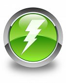 picture of electricity  - Electricity icon on glossy green round button - JPG