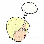 stock photo of raised-eyebrow  - cartoon woman raising eyebrow with thought bubble - JPG