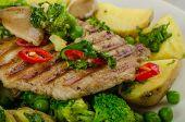 pic of pork  - Healthy Pork Escalope with Super Greens broccoli peas pork and potato - JPG
