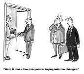 picture of gag  - The management is persuading employees to buy into change management by paying them money - JPG