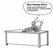 pic of change management  - The businessman is a bit afraid of change so he has started a change management diary to record his positive steps forward - JPG