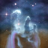 image of gases  - Illustration of the pillars of Creation - JPG