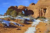 pic of arch  - Double Arch in Arches National Park Utah in winter - JPG