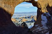 stock photo of partition  - Partition Arch in Arches National Park Utah in winter - JPG