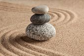 picture of calm  - Japanese Zen stone garden  - JPG