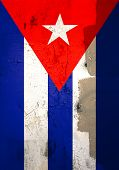 Weathered cuban flag poster