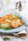 foto of spaghetti  - Plate Of Delicious Prawns Spaghetti With Creamy Sauce - JPG