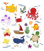pic of under sea  - a vector of many animal under the sea - JPG