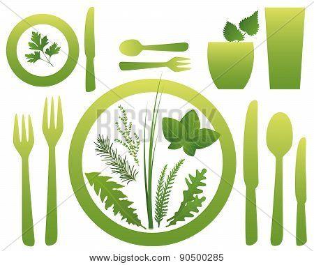 Vegetarian Meal Cutlery Culinary Herbs