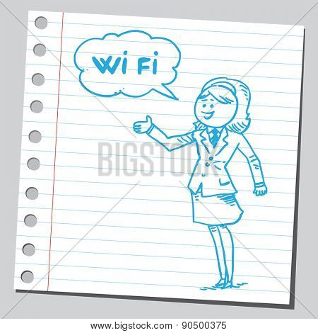 Businesswoman speaking wi fi