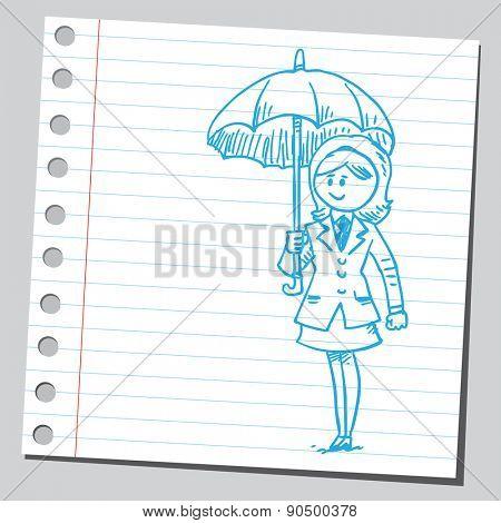 Businesswoman with open umbrella