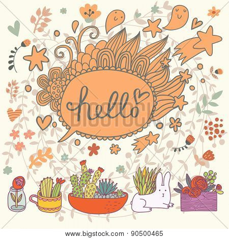 Hello concept - bright card in vector. Lovely flowers in pots with sweet rabbit. Stylish textbox in stars and hearts
