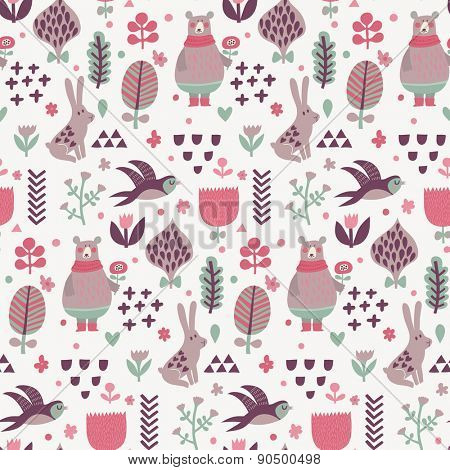 Sweet seamless pattern with birds swallows, rabbits, bear and leafs with flowers. Lovely floral background with cute animals and birds in popular colors in vector