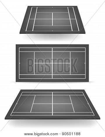 Set Of Black Tennis Courts With Perspective