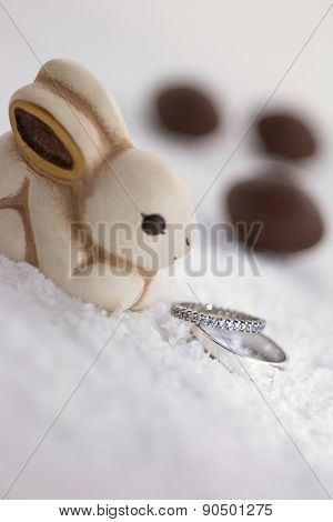 Easter Bunny And Engagement Rings In The Snow